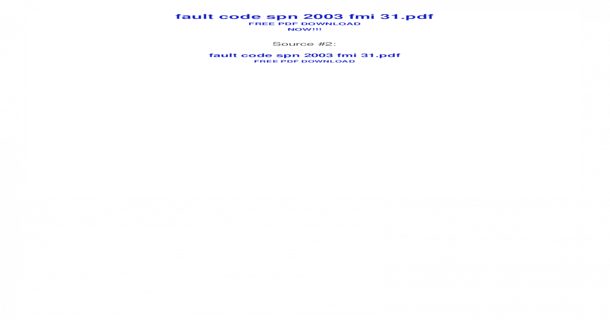 fault code spn 2003 fmi 31 - Bing - Free PDF Links | Free