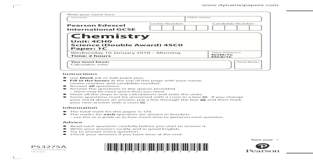 Pearson Edexcel International GCSE Ch Number Candidate