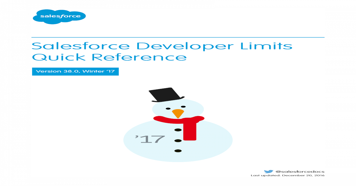 Salesforce Developer Limits Quick Developer Limits Quick