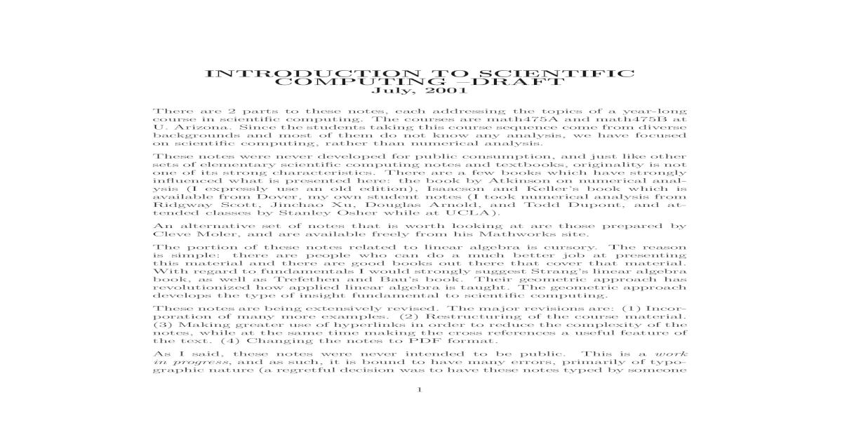 INTRODUCTION TO SCIENTIFIC COMPUTING scientic computing