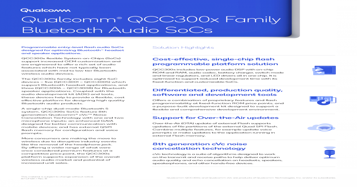 Bluetooth Audio SoCs - Qualcomm Entertainment Toys QCC300x Block