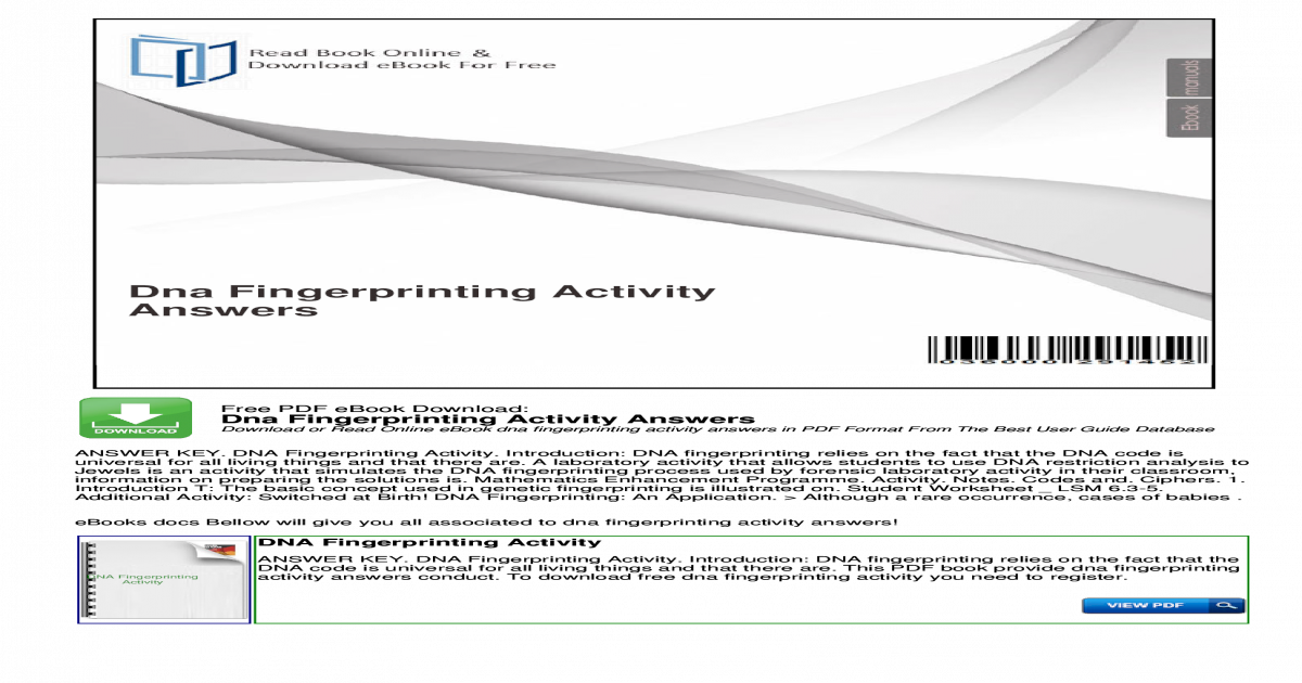 Dna Fingerprinting Activity Answers - Fingerprinting Chatt ...