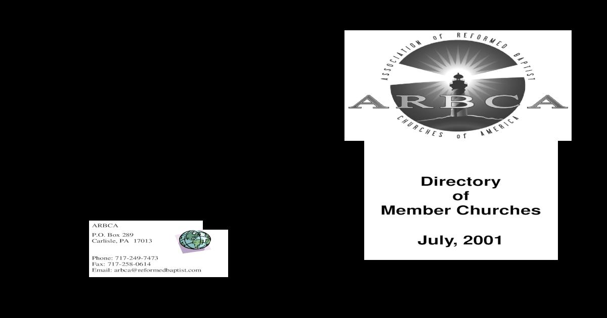 Directory of Member Churches July, 2001 - ARBCA org arbca