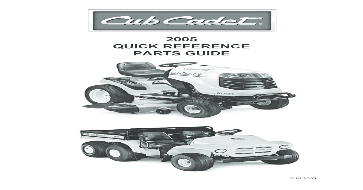 2005 QUICK REFERENCE PARTS GUIDE - Cub Cadet Quick Reference Self