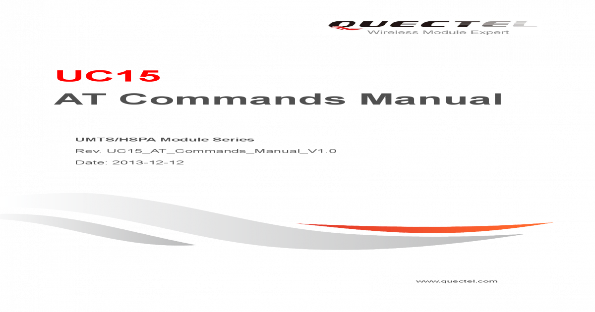UC15 AT Commands Manual - my QCFG=call/alpha Display