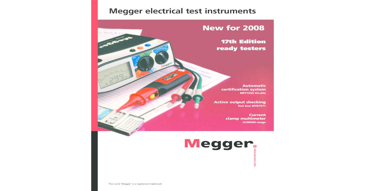 Megger MFT 1553 MFT1553 Test Leads Probes Crocodile Clips Mains Plug Test Lead