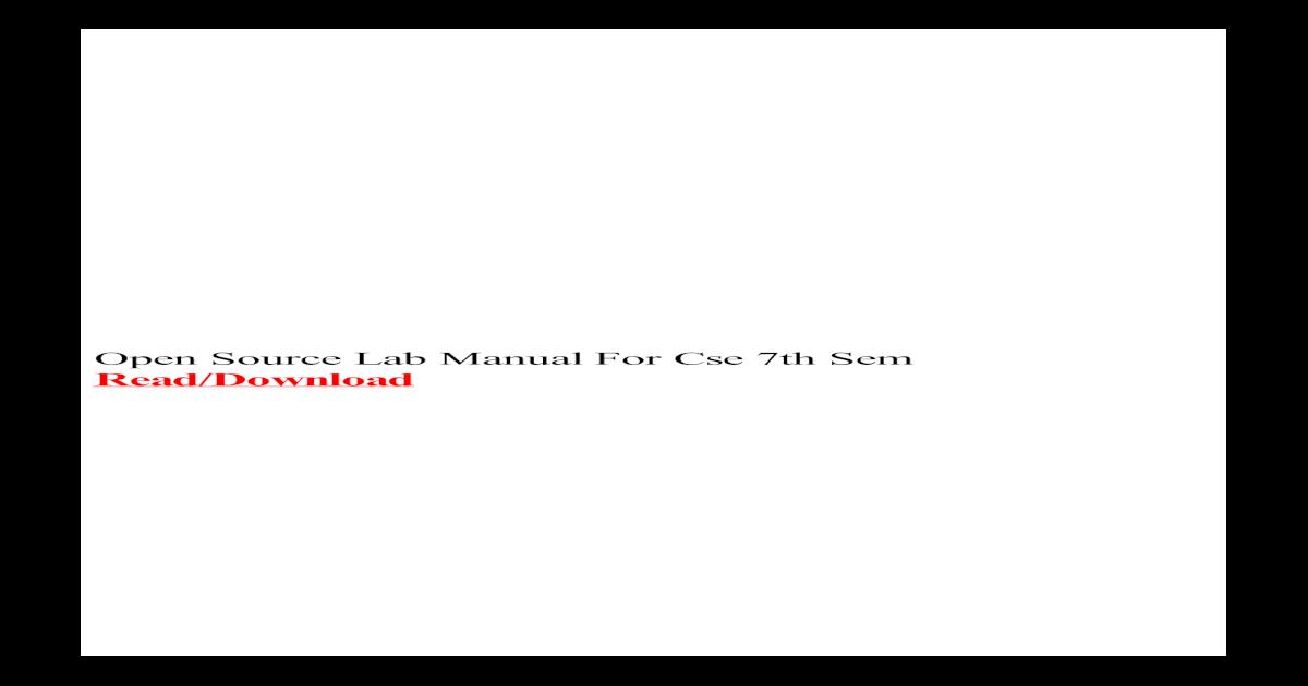 Open Source Lab Manual For Cse 7th Sem university CSE Lab