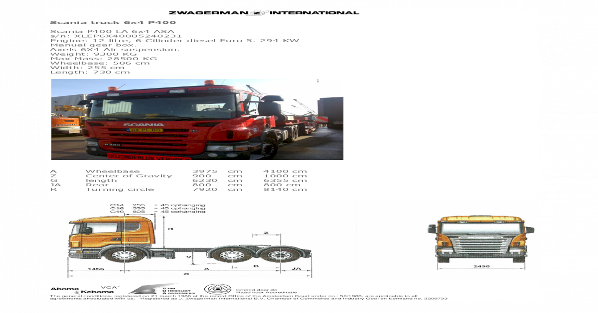 Scania P400 Specifications