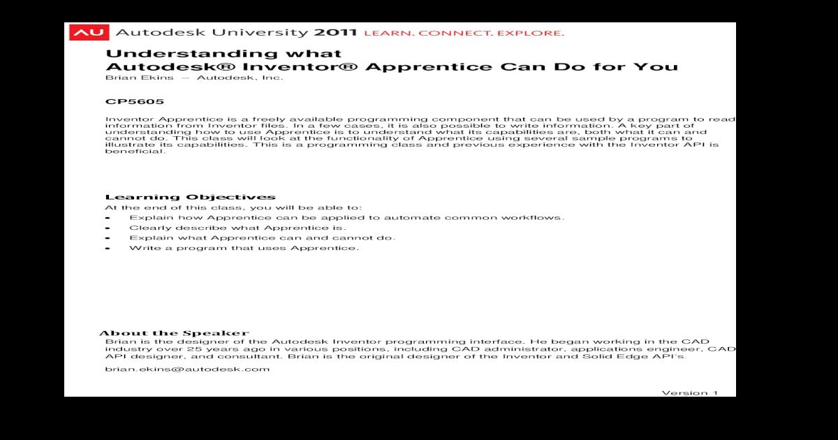 Understanding what Autodesk Inventor Apprentice what