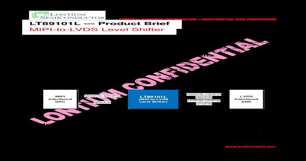 MIPI-to-LVDS Level Shifter - Lontium ??2017-06-03The Lontium