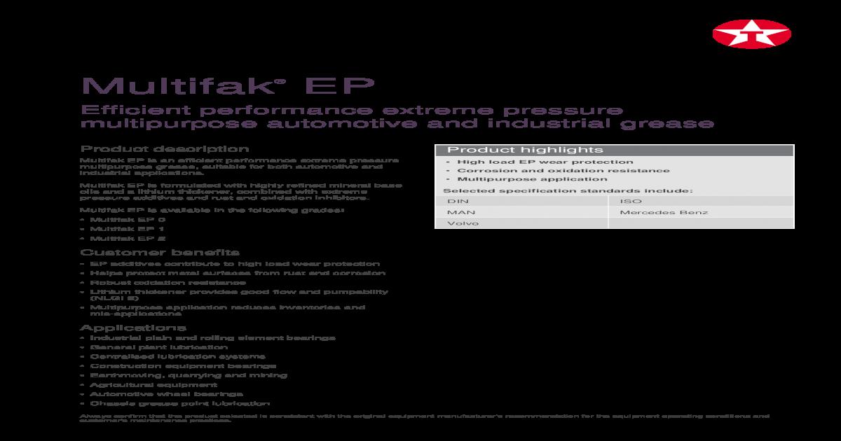Multifak EP - EP 0 EP 1 EP 2    Multifak EP is an efficient