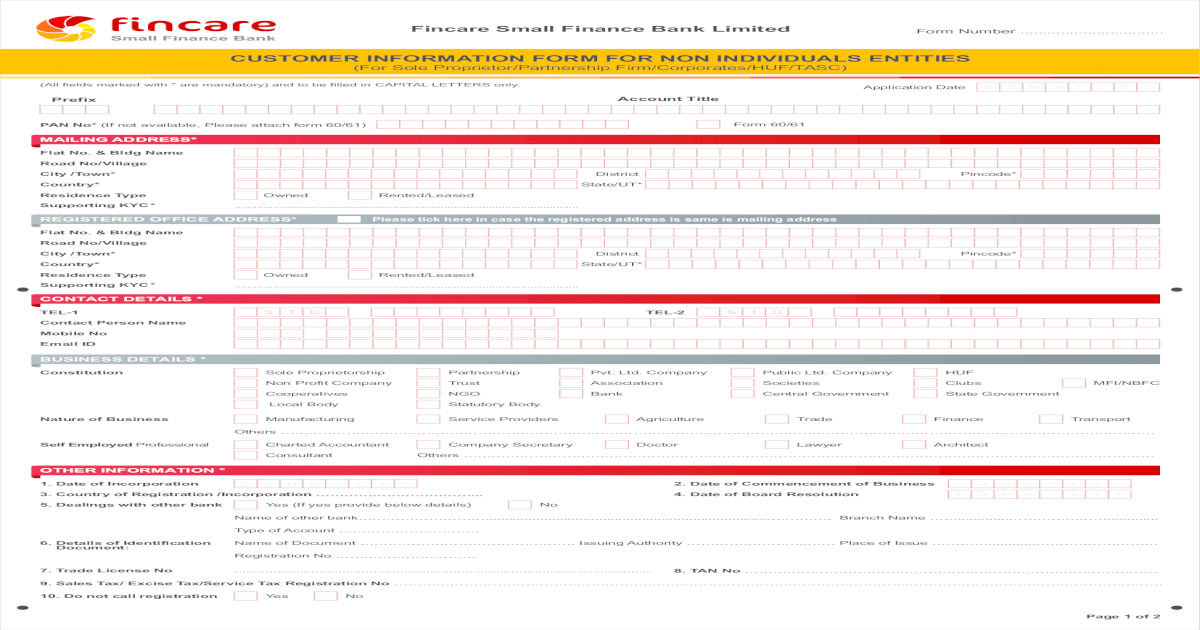 CUSTOMER INFORMATION FORM FOR NON INDIVIDUALS INFORMATION