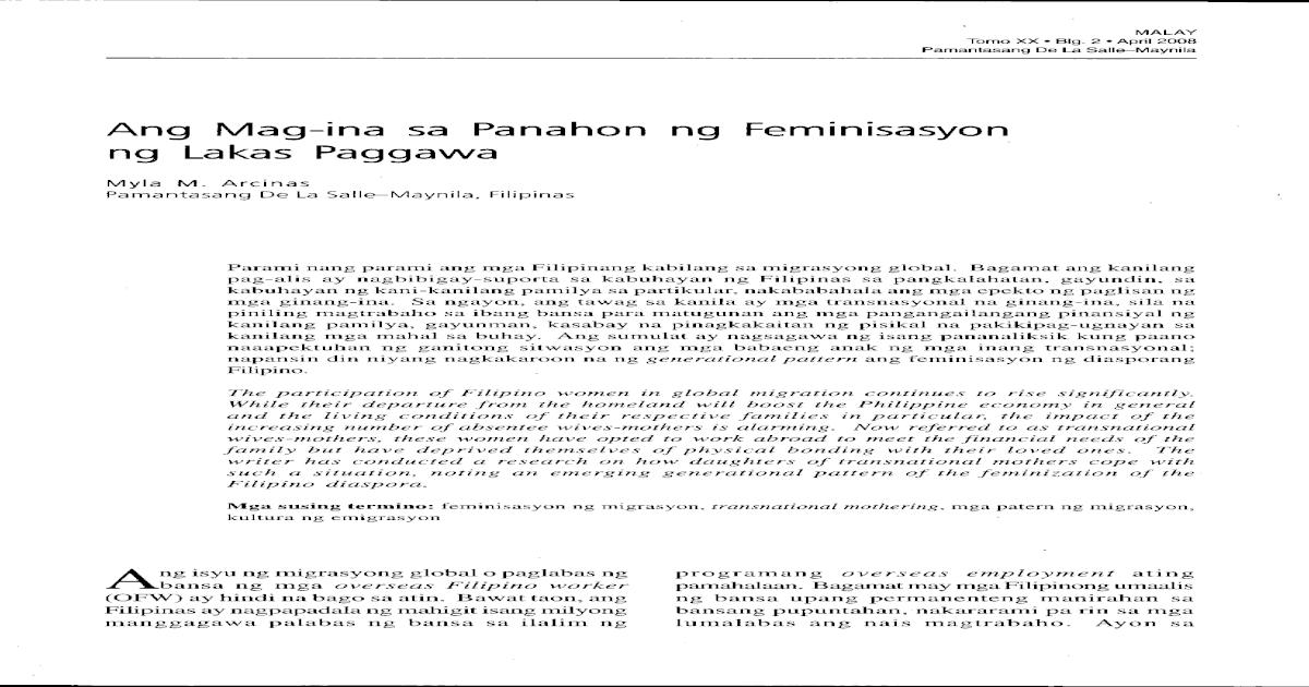 Ang Mag-Ina Sa Panahon Ng Feminisasyon Ng Lakas Paggawa