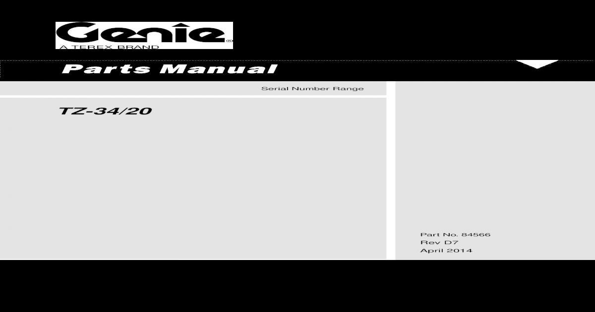 Parts Manual Manlift Genie Tz 34-20