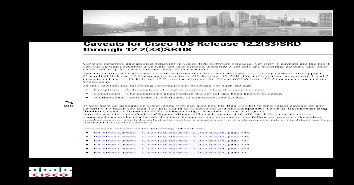 Caveats for Cisco IOS Release 12 2(33)SRD through Caveats