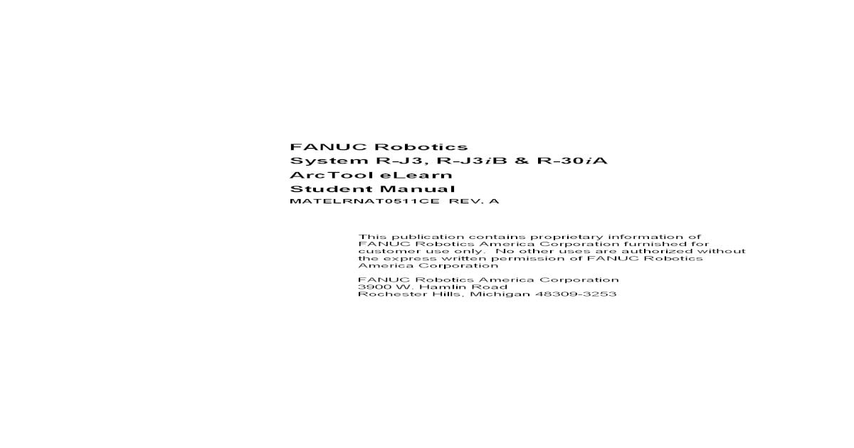 Fanuc R J3, R J3iB, R 30iA Student Manual