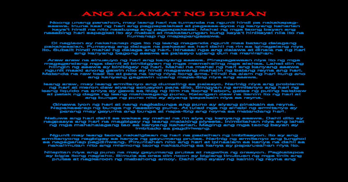 Web viewANG ALAMAT NG DURIAN  Noong unang panahon, may isang