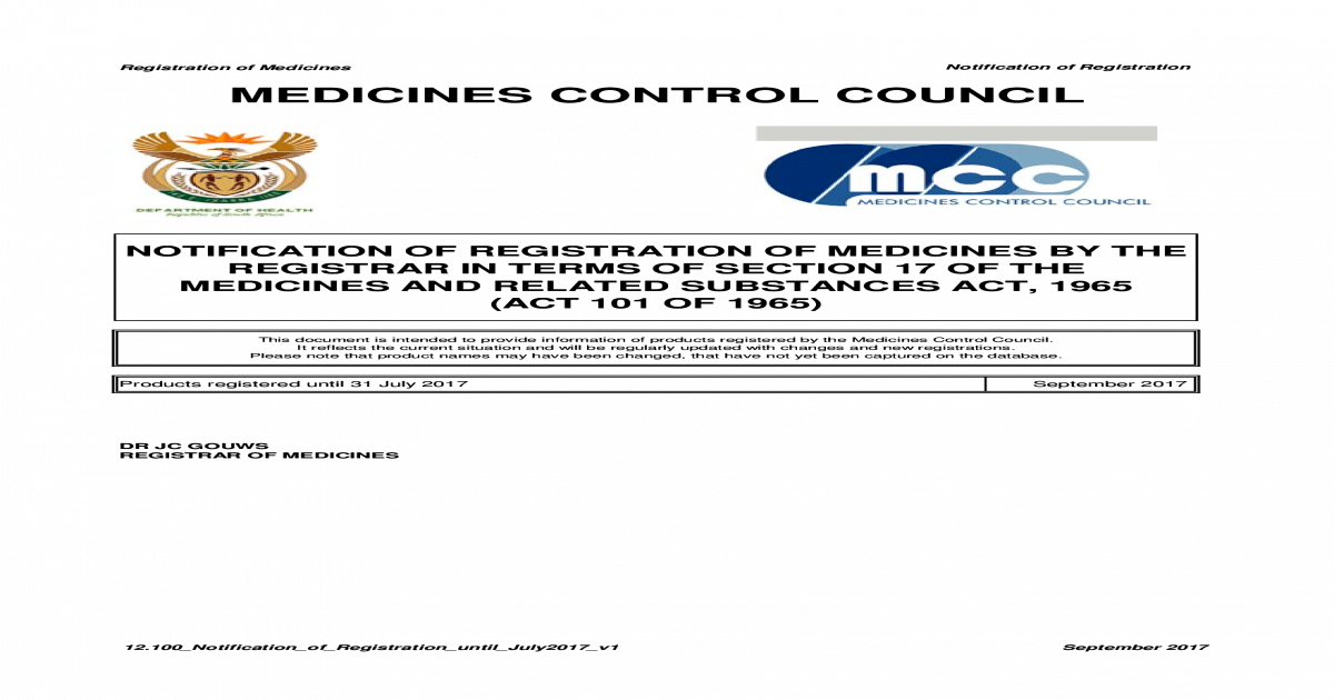 Registration Of Medicines Notification Of Registration