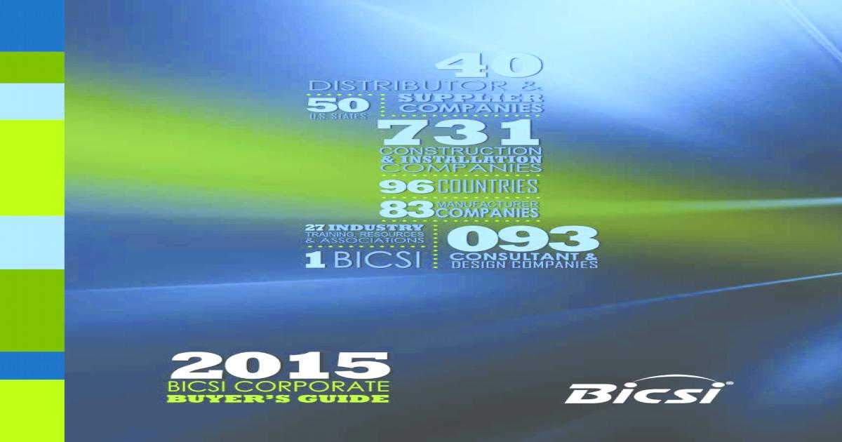 2015 BICSI Board of Directors BICSI Board of Directors