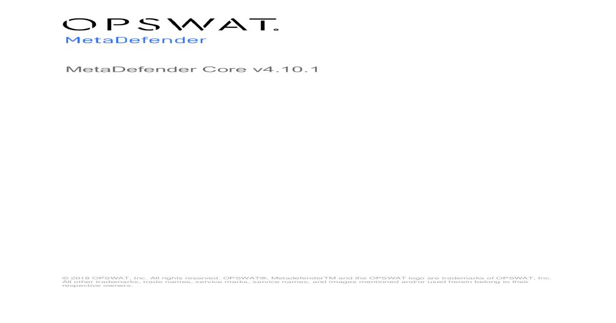 MetaDefender Core v4 10 - Core v4 10 1 pdfPerformance Report
