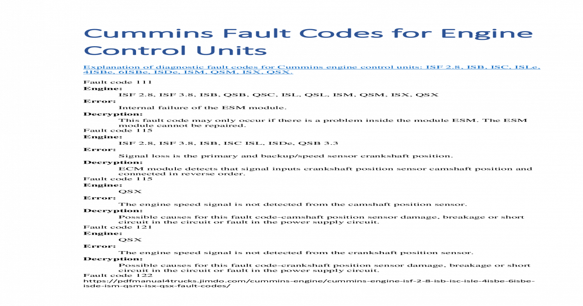 Cummins Fault Codes for Engine Control Units Fault Codes for