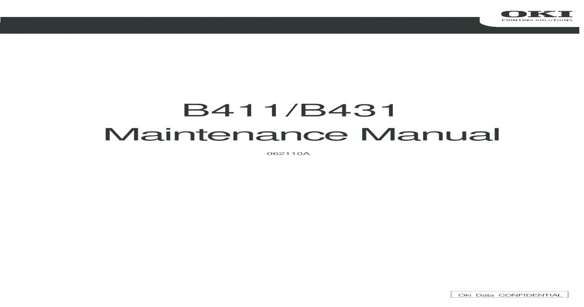 Oki B411 B431 Service Manual