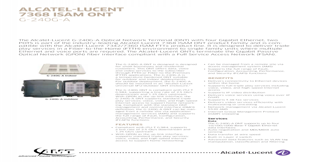 Alcatel-Lucent 7368 ISAM ONT G-440G-A
