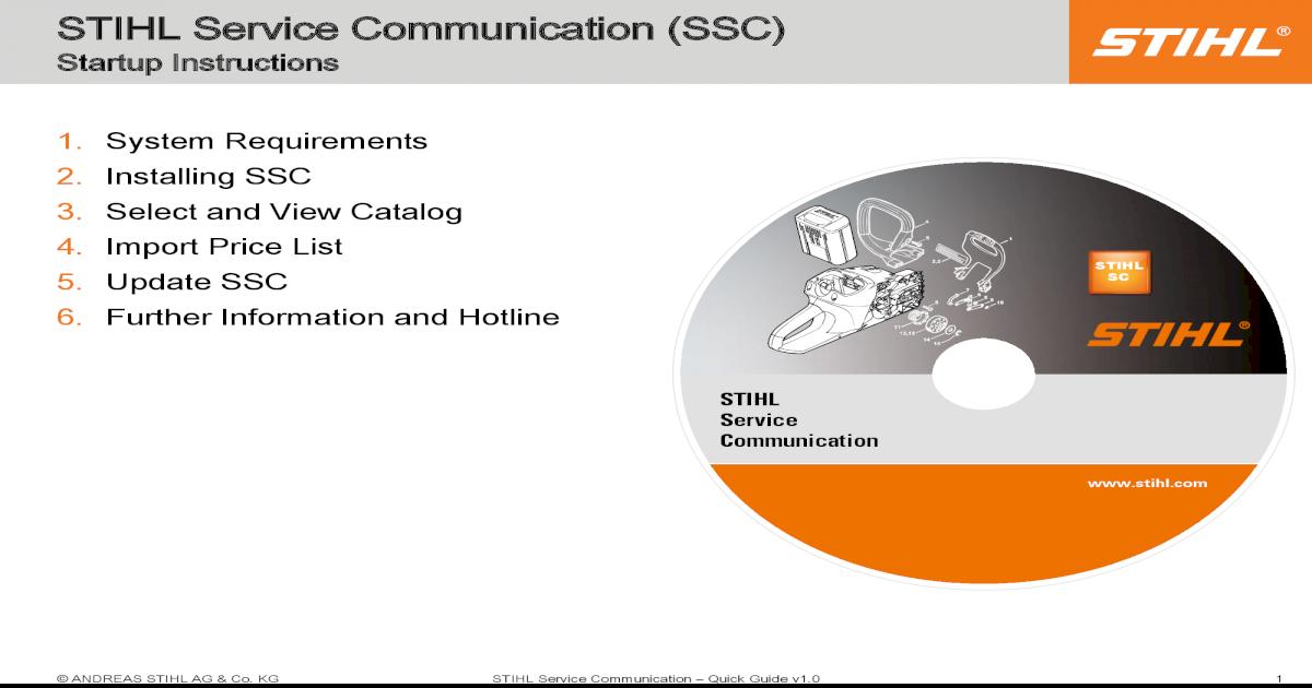 STIHL Service Communication (SSC) SSC 3  Select and View