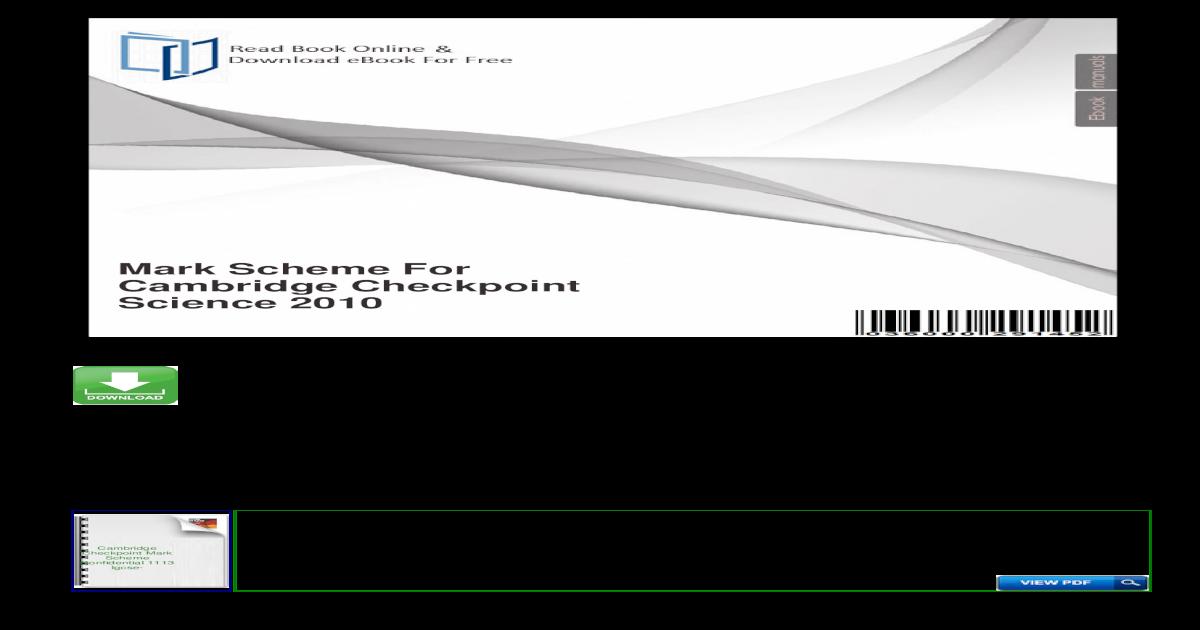 Mark Scheme For Cambridge Checkpoint Science Scheme For