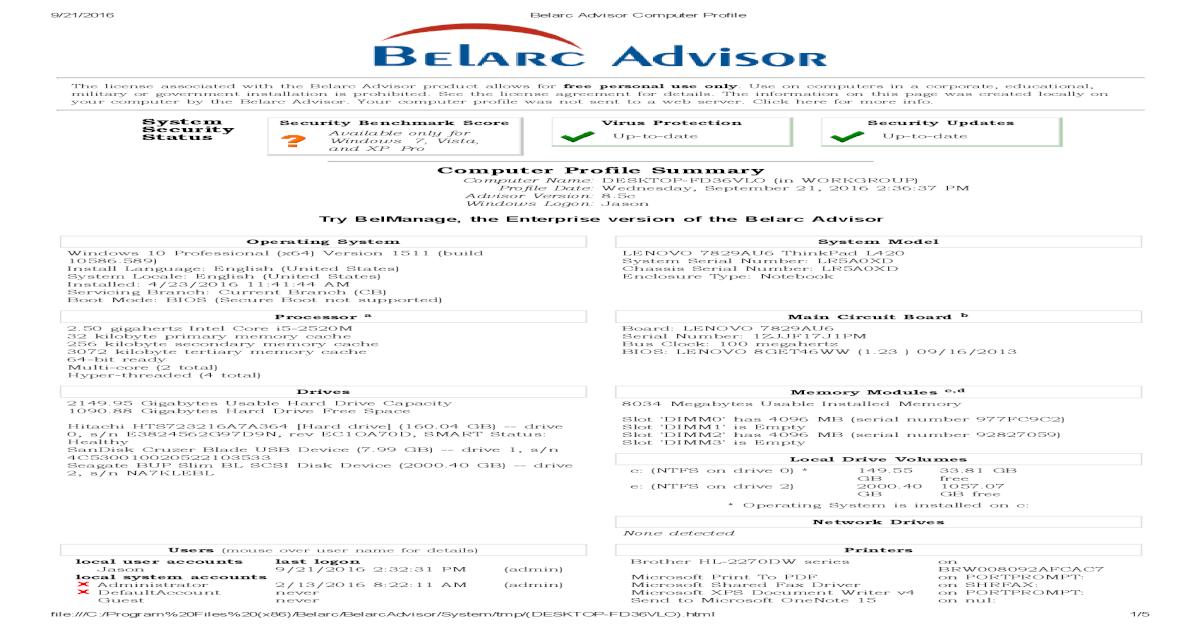 Computer Profile Summary - English Community - Belarc