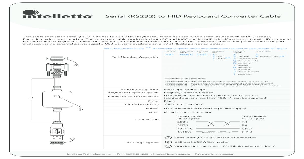 Serial (RS232) to HID Keyboard Converter 2 3 Serial (RS232