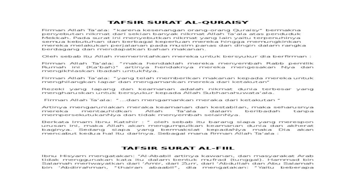 Tafsir Surat Al Quraisy Al Fiil Al Humazah