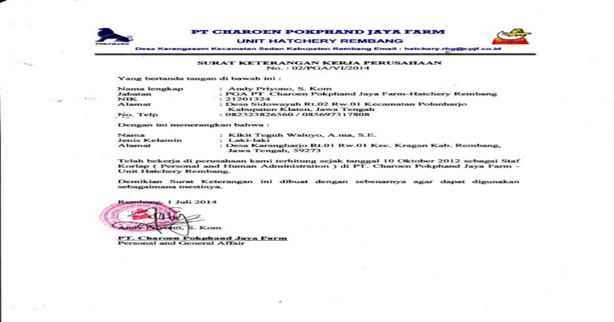 Surat Keterangan Kerja Pokphand Download Pdf