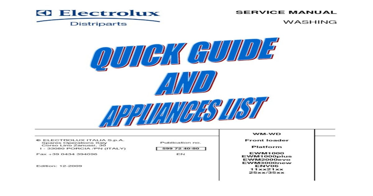 Electrolux WASHING Machines Service Guide