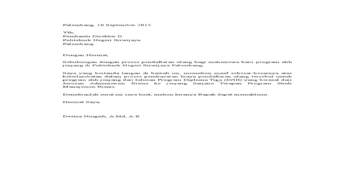 Surat Permohonan Maaf Atas Keterlambatan Pembayaran