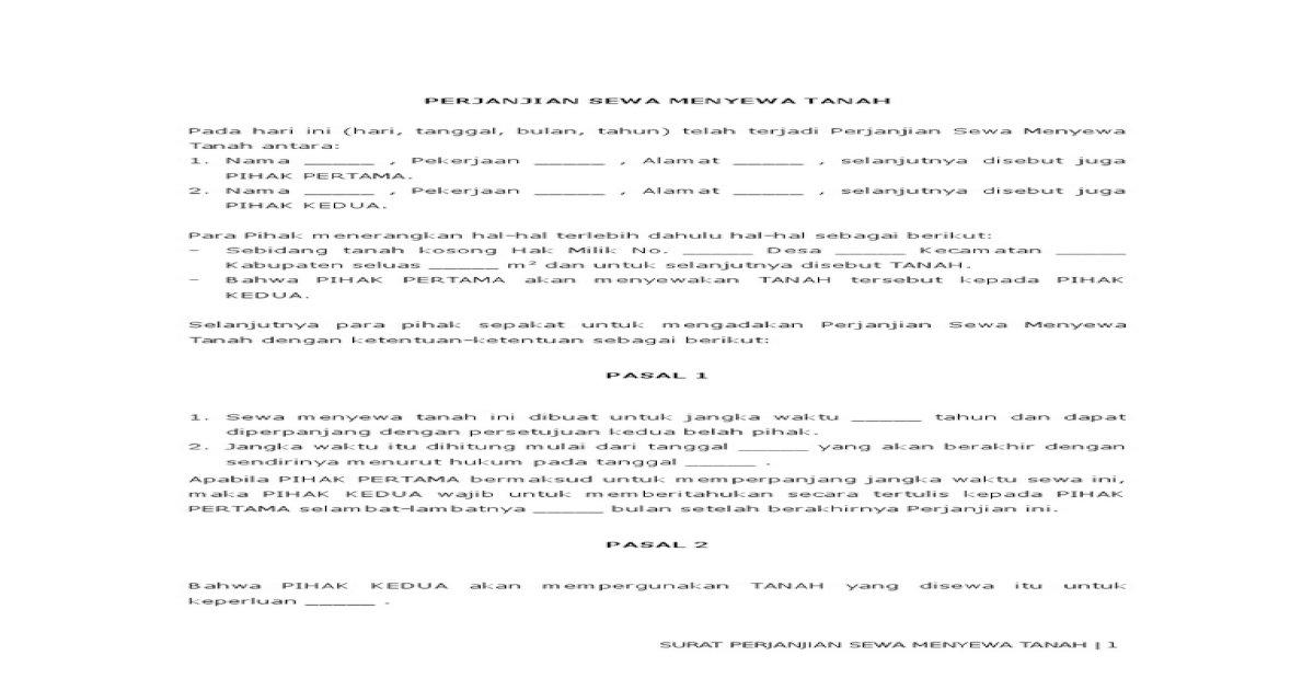 Contoh Surat Perjanjian Sewa Menyewa Tanah Sawah Contoh Seputar Surat