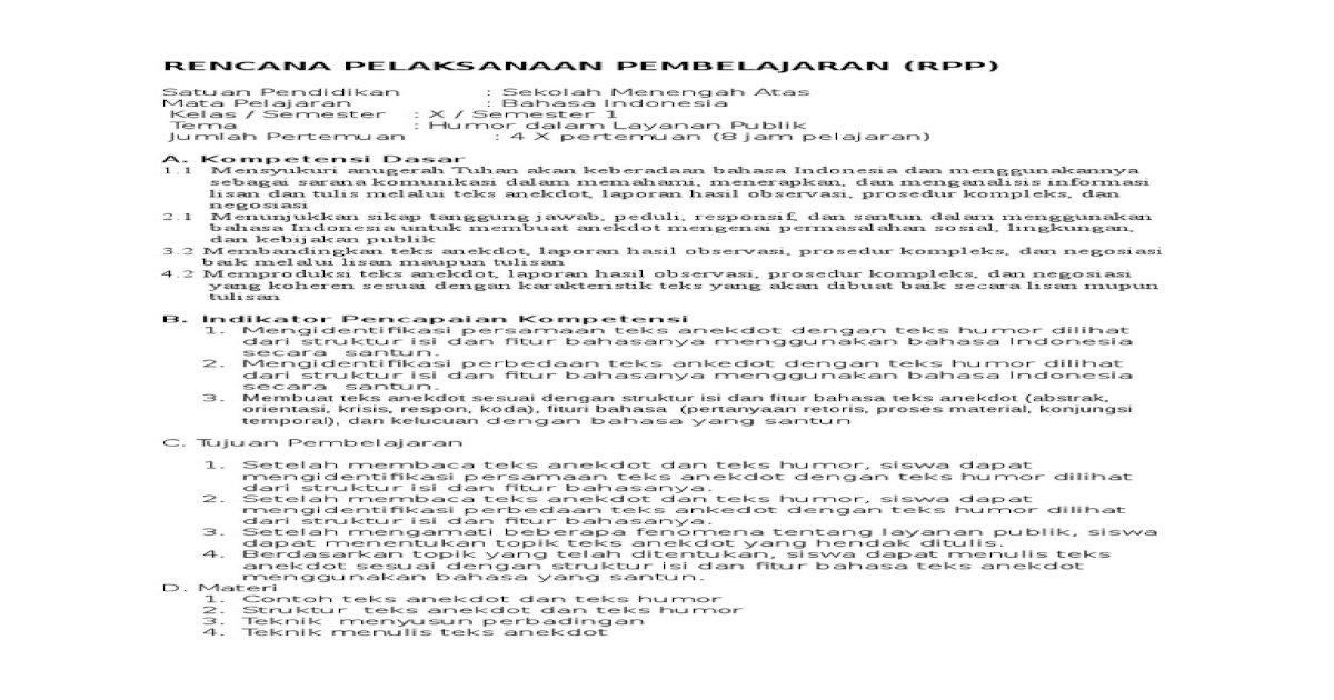 Rpp Teks Anekdot Guru Ilmu Sosial