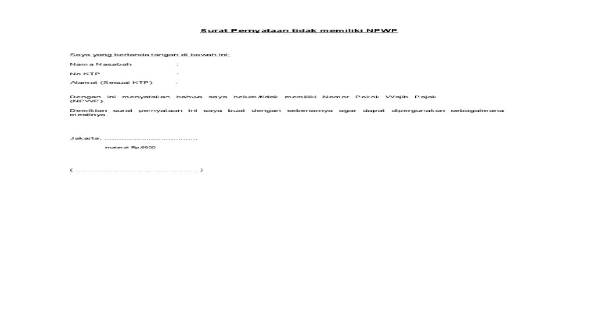 Surat Pernyataan Tidak Memiliki Npwp