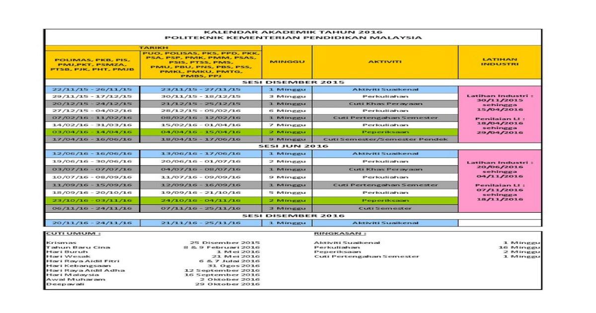 Kalendar Akademik Politeknik 2016