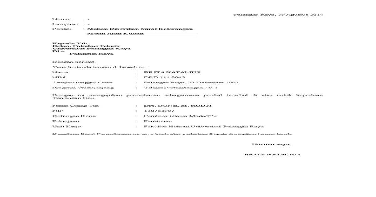 Permohonan Surat Keterangan Aktif Kuliah