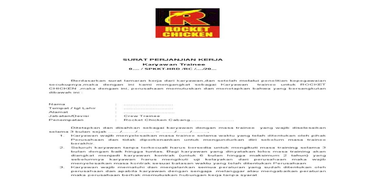 20 Contoh Surat Lamaran Rocket Chicken Kumpulan Contoh Gambar