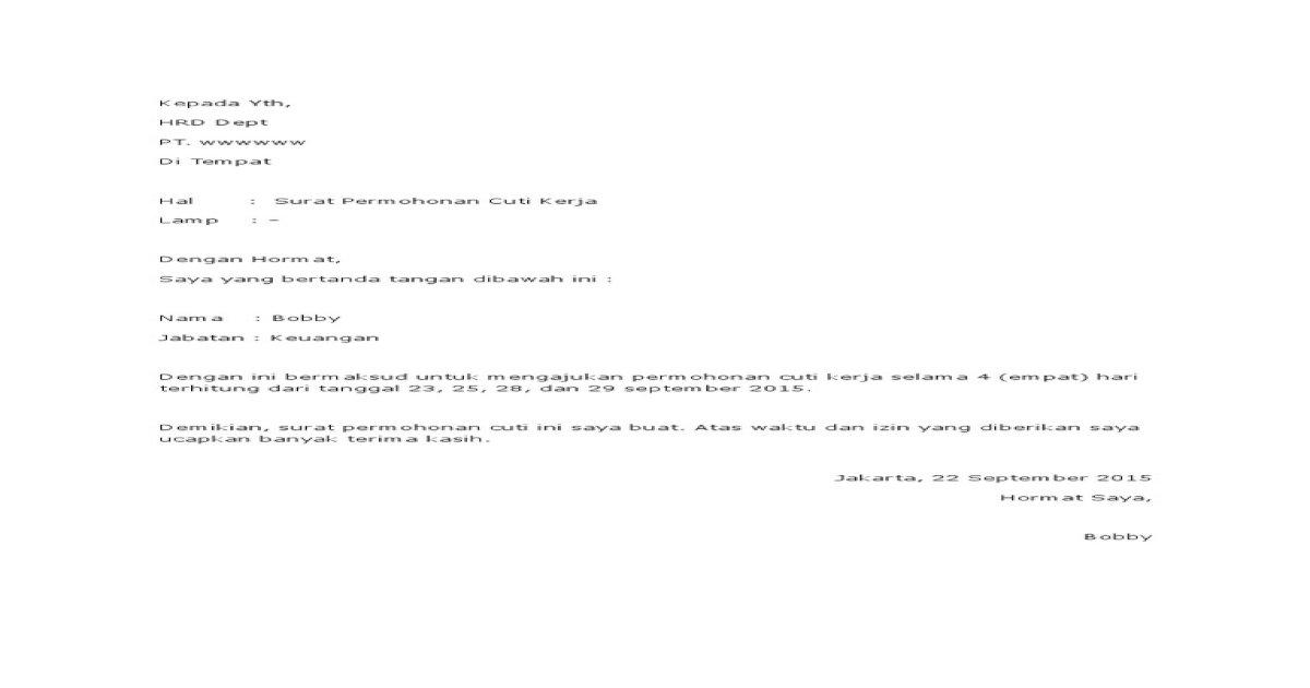Surat Permohonan Cuti Kerja 2