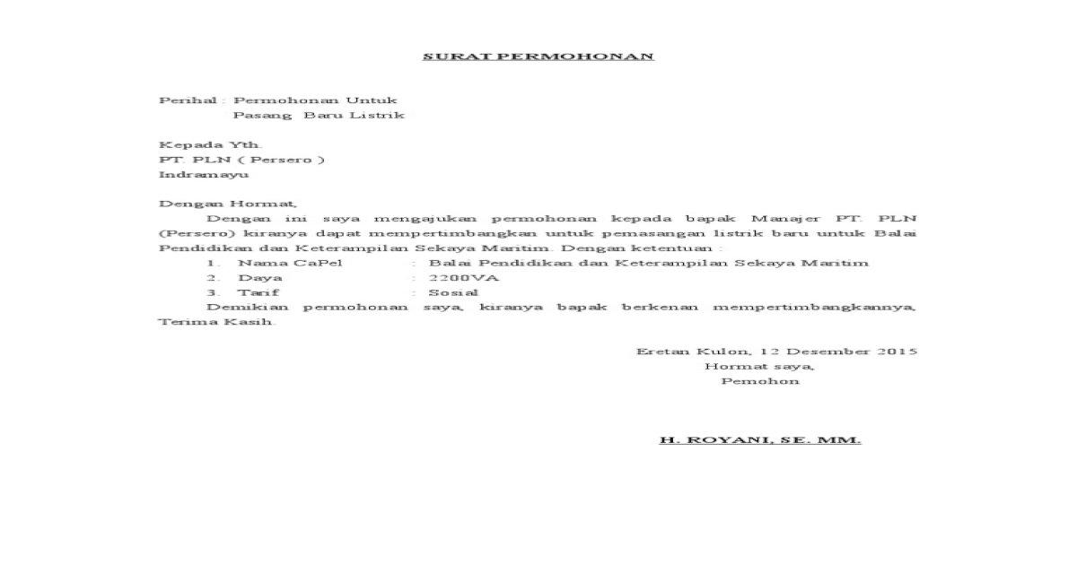 Contoh Surat Permohonan Pemasangan Listrik Baru Ke Pln Contoh Seputar Surat