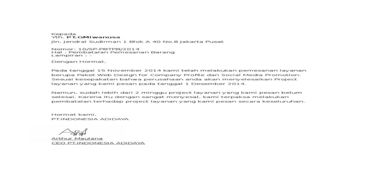 Contoh Surat Pembatalan Pemesanan