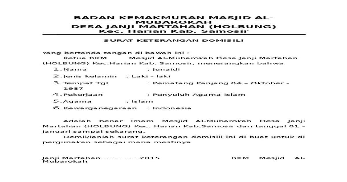 Surat Domisili Bg Junaididocx
