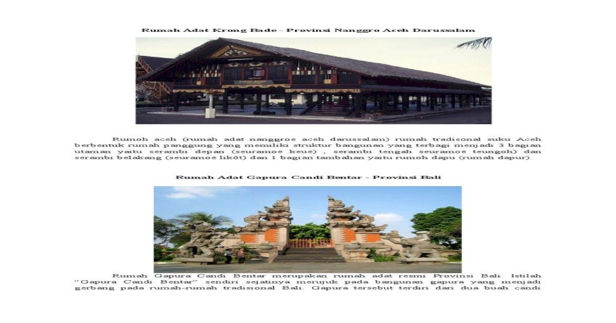 Rumah Adat Gapura Candi Bentar Berasal Dari Daerah Rumah Adat Provinsi Bali Rumah Gapura Candi Bentar