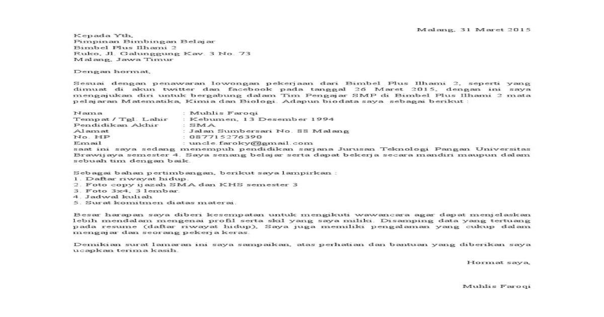 Contoh Surat Pernyataan Mengikuti Bimbingan Belajar ...
