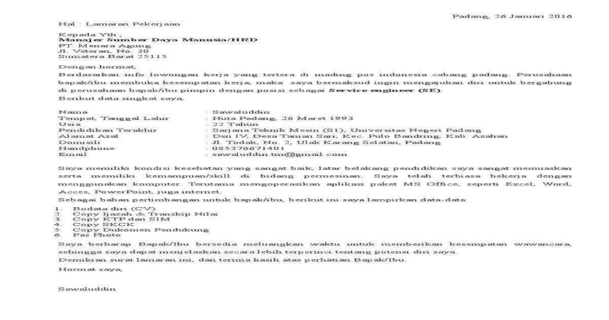 Surat Lamaran Honda Gajah Motor
