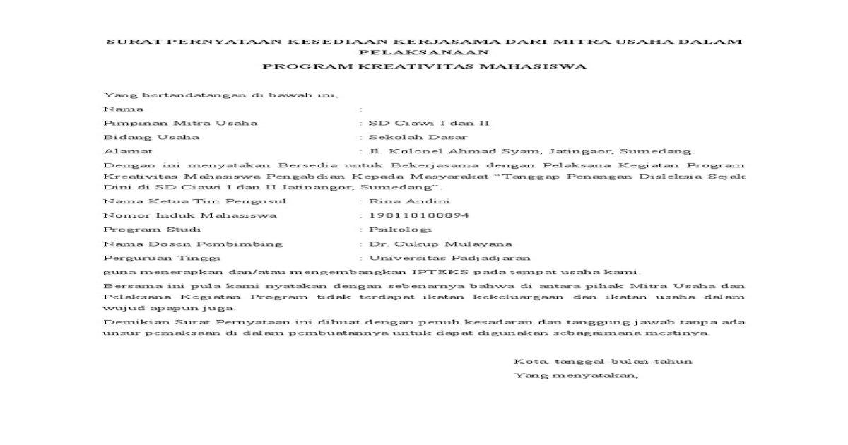 Surat Pernyataan Kesediaan Kerjasama Dari Mitra Usaha Dalam
