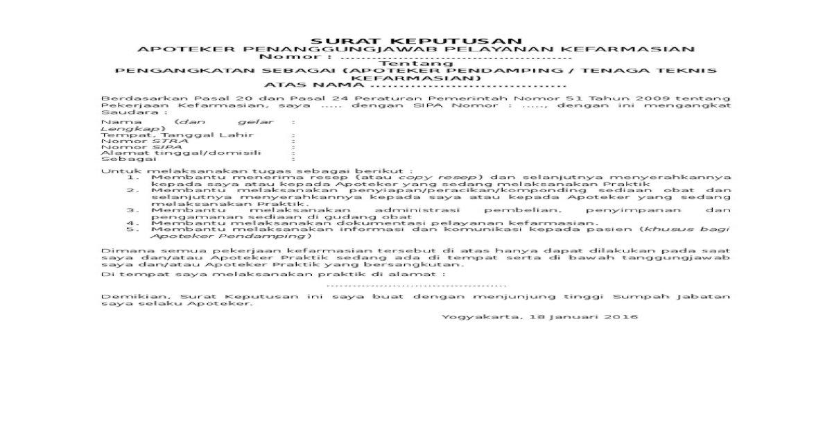 Surat Pengangkatan Apoteker